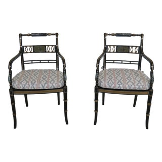 Black Regency Cane Seat Paint Decorated Arm Chairs - a Pair For Sale
