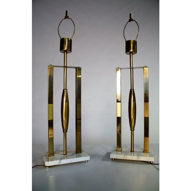 1950s Vintage Brass & Marble Lamps - A Pair For Sale - Image 5 of 9