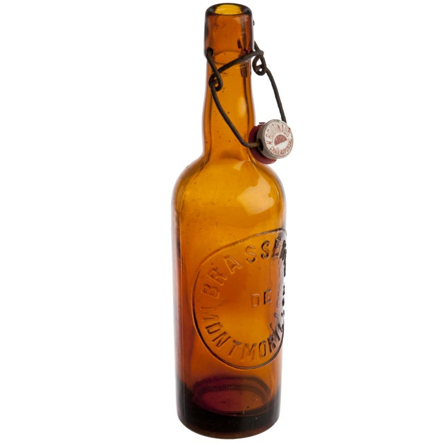 Vintage French Amber Glass Brasserie Bottle - Image 2 of 3