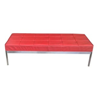 1960s Mid-Century Modern Florence Knoll Style Red Leather Chrome Bench For Sale