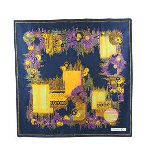 1970s Vintage Christian Dior Paris Geometric Print Silk Twill Scarf For Sale