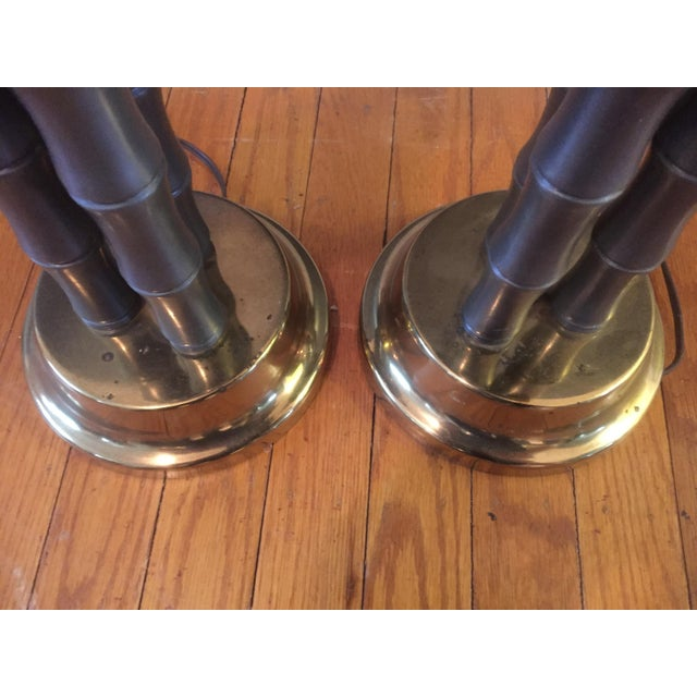 Vintage Metal & Brass Faux Bamboo Lamps - A Pair For Sale In Philadelphia - Image 6 of 7