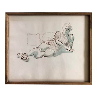 Mid Century Watercolor Painting -Reclining Woman For Sale