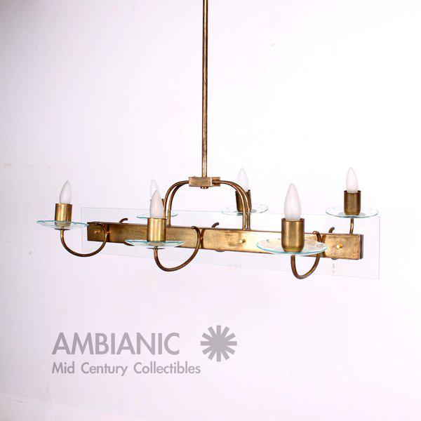 Six Arm Italian Chandelier After Fontana Arte For Sale In San Diego - Image 6 of 11