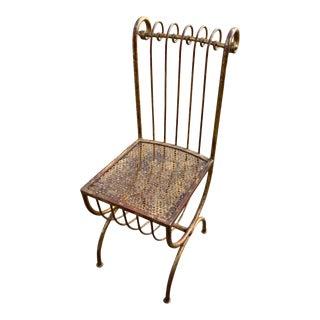 Mid 20th Century Hollywood Regency Italian Gilt Scroll Back Chair For Sale