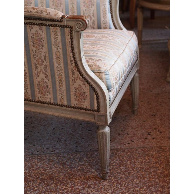 Fabric Louis XVI French Painted Bergere For Sale - Image 7 of 8