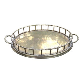 1980's Vintage Hollywood Regency Brass Bamboo Tray For Sale