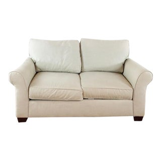 Pottery Barn Comfort Contemporary Upholstered Loveseat For Sale