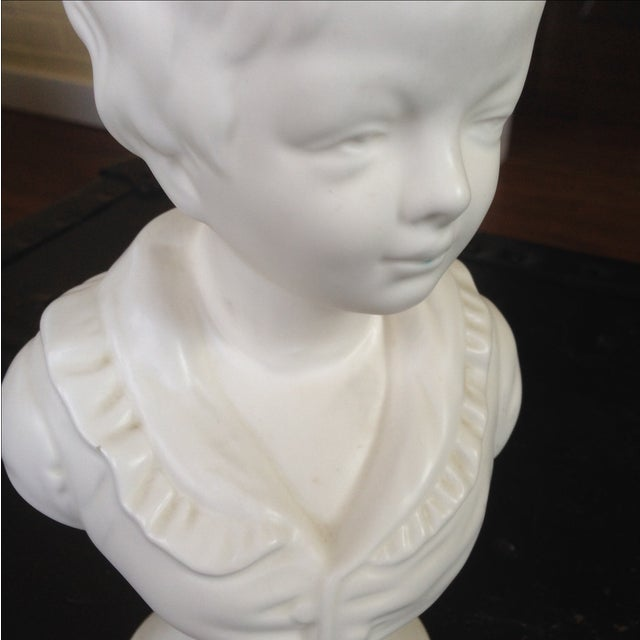 Vintage White Ceramic Young Child Bust - Image 5 of 11