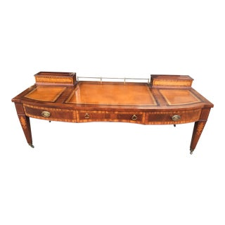 Inlaid Leather & Mahogany Coffee Table