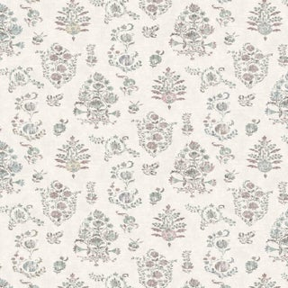 "Lewis & Wood Sicilia Tea Rose Extra Wide 52"" Botanic Style Wallpaper - 1 Yard For Sale"