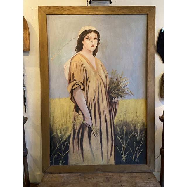 1950s Antique Ruth Harvest Painting For Sale - Image 12 of 13