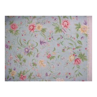 Modern Gp & J Baker Queen Anne Chinese Sky Blue Linen Print Upholstery Fabric- 13 Yards For Sale