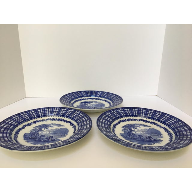 Antique Blue Rimmed Bowls in Breadalbane Pattern - Made in Cauldon, England - Set of Three For Sale - Image 9 of 12