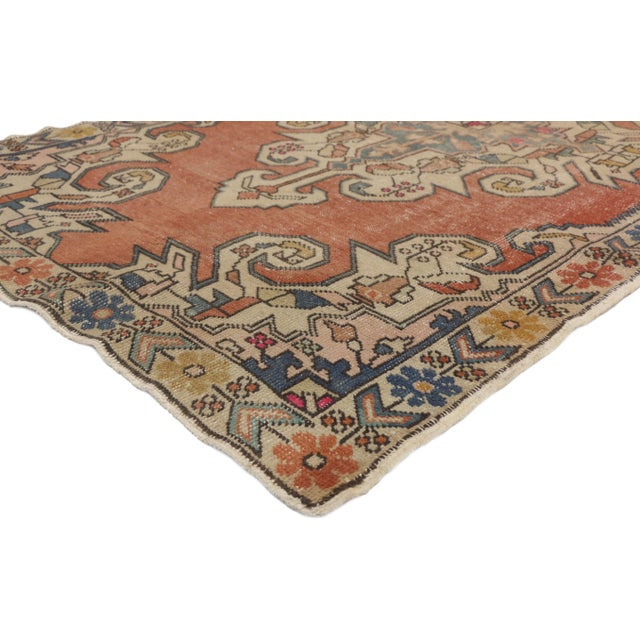 Distressed Vintage Turkish Oushak Rug with Industrial Art Deco Style 04'05 x 07'07. This hand knotted wool distressed...