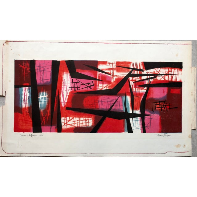"""Signed Jerry Opper Bay Area Artist Abstract Print """"Frame of Reference"""" For Sale - Image 10 of 10"""