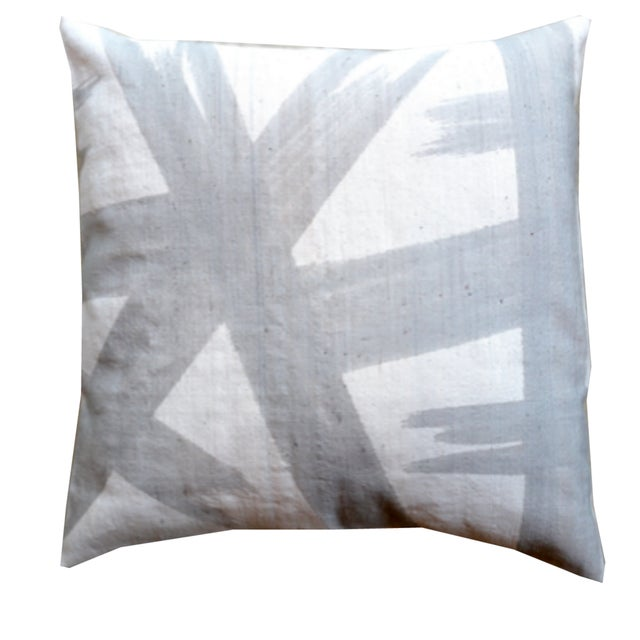 Contemporary Grey Mudcloth Pillow Cover For Sale - Image 3 of 3