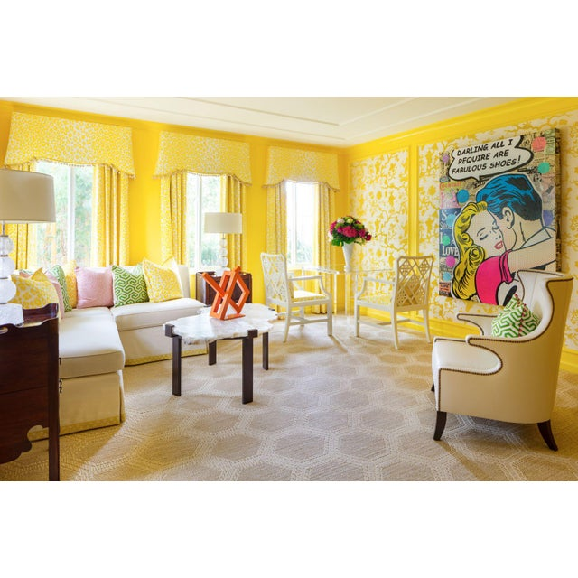 (4) Pairs of End Panels made with Schumacher's Famous Icon Leopard Fabric in Color Yellow. Schumacher first introduced...