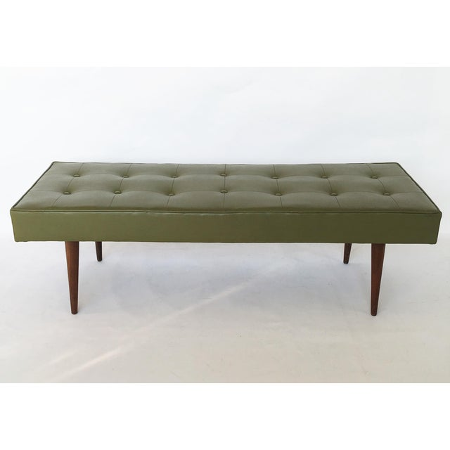 Simple and elegant Mid-Century Modern rectangular bench by Baughman for Thayer Coggin. Bench is upholstered in original...