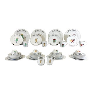 Service for 8 Merry Christmas Dinnerware, 34pcs. For Sale