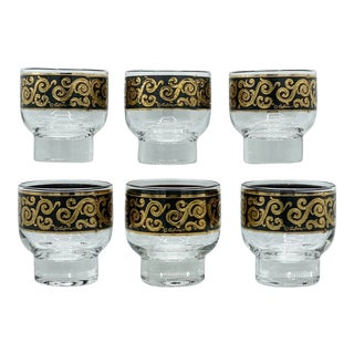 1950s Mid-Century Culver Black and 22k Gold Toledo Stemless Cocktail Glasses - Set of 6 For Sale