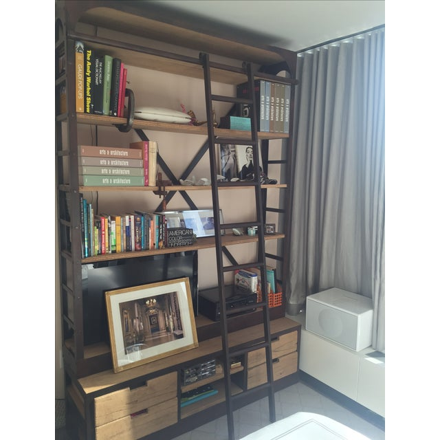 Restoration Hardware Bookcase & Ladder For Sale - Image 7 of 7