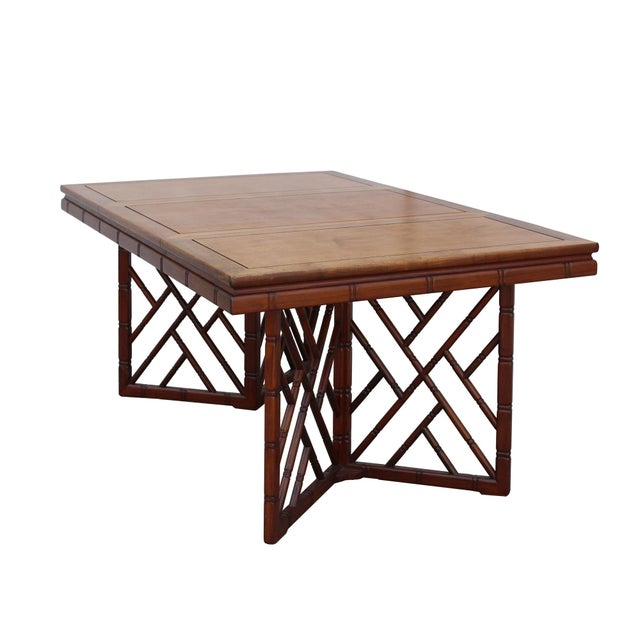 2010s Chinese Oriental Brown Rectangular Writing Desk Dining Table For Sale - Image 5 of 10