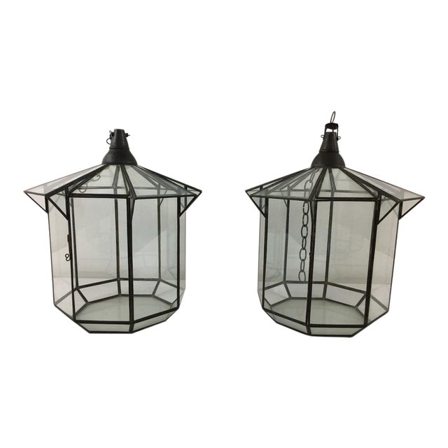 Moroccan Brass and Clear Glass Lantern For Sale