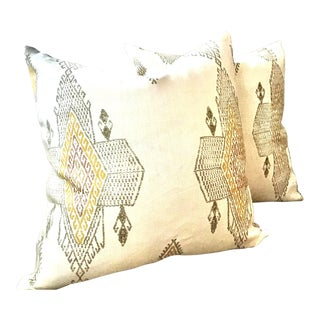 """Belgian Christopher Farr """"Traveling Light"""" in Natural-Pair of 22"""" Down Filled Pillows - a Pair For Sale"""