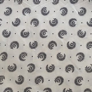 Boho Chic Sister Parish Desmond Black and Ivory Linen Fabric- 1 1/2 Yards For Sale