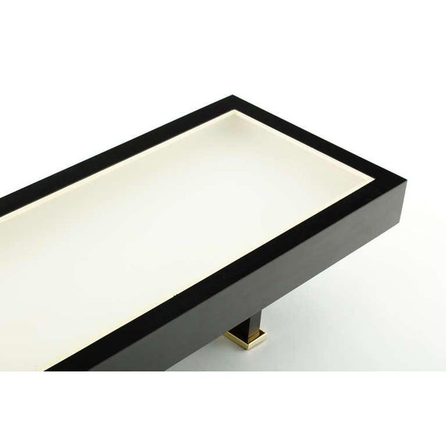 French 1960s Shadowbox Coffee Table with Brass Detail For Sale - Image 4 of 7
