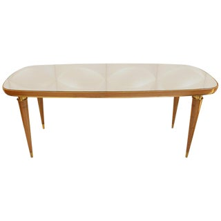 1950s Italian Dining Table With Glass Top For Sale