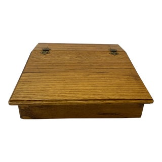 Vintage Oak Slant / Lift Top Travel Desk / Laptop Desk C.1930 For Sale