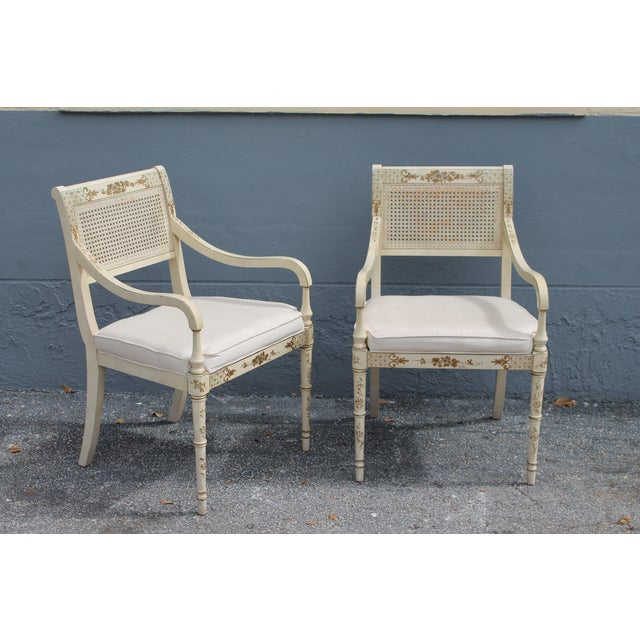 French Vintage Mid Century Taffeta Faux Bamboo Caned Armchairs- A Pair For Sale - Image 3 of 13