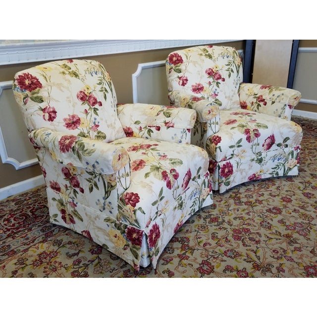 Ethan Allen Floral Upholstered Armchairs #20-7555- a Pair - Image 2 of 11