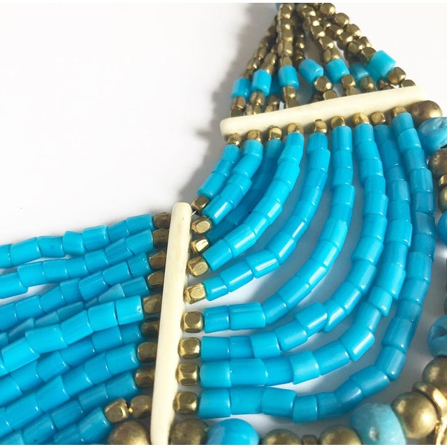 Vintage Beaded Turquoise Style Necklace With Faux Gold Metal Coins For Sale - Image 9 of 11