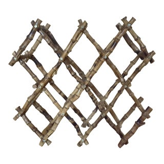 Vintage Boho Chic Bamboo Expandable Wine Rack For Sale