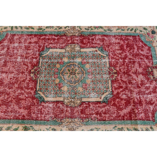 Distressed Turkish Handmade Area Rug - 5′2″ × 8′3″ - Image 5 of 6