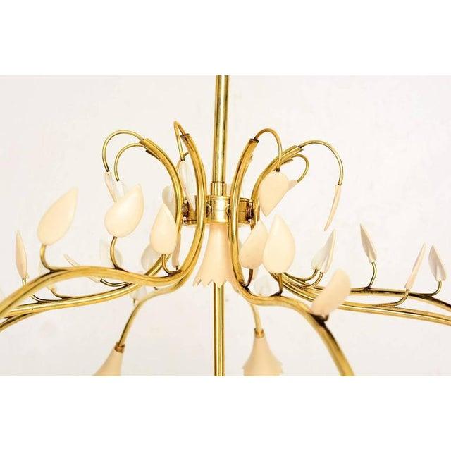 Brass Leaves Italian Chandelier For Sale - Image 4 of 6