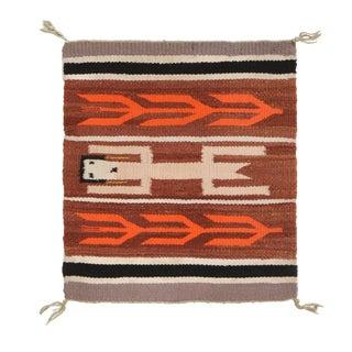 Vintage Navajo Beige Brown Geometric Wool Rug For Sale