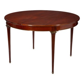Emilio Terry 1950s Round Louis XVI Style Mahogany Dining Table W Gilt Bronze Trim For Sale
