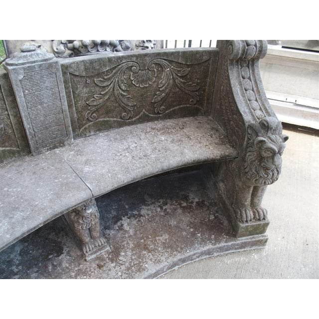 A Large Semi Circular Carved Limestone Griffins Bench - Image 11 of 11