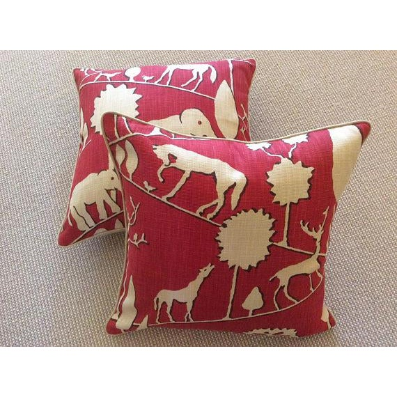 Fabulous woven in striking cardinal. Jungle walk features all your favorite zoo animals---fabric is a linen woven. Back is...