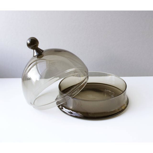 Mid Century Colony Smoke Glass Cheese Dome For Sale - Image 4 of 6