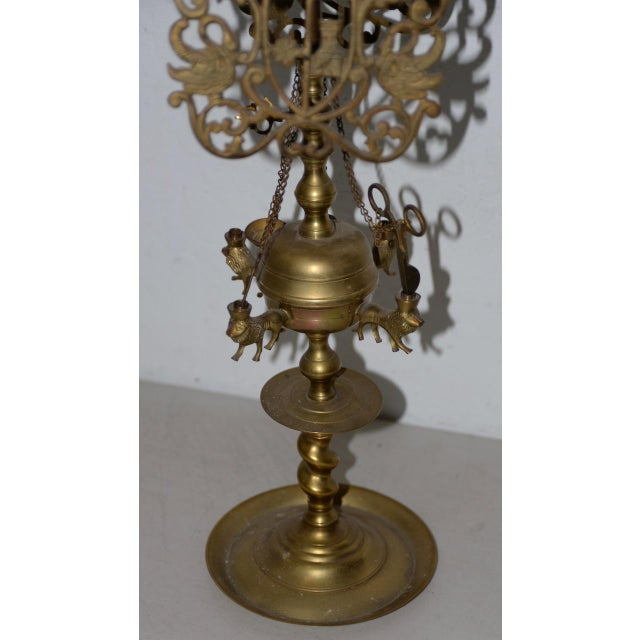19th Century 19th C. Middle East Brass Oil Lamp For Sale - Image 5 of 8
