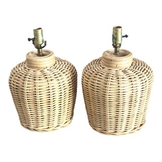 1980s Vintage Wicker Lamps - a Pair For Sale