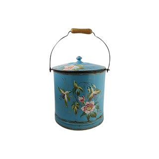 Vintage Hand-Painted French Enamel Bucket