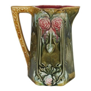 Majolica Ceramic Roses and Leaves Pitcher Jug For Sale