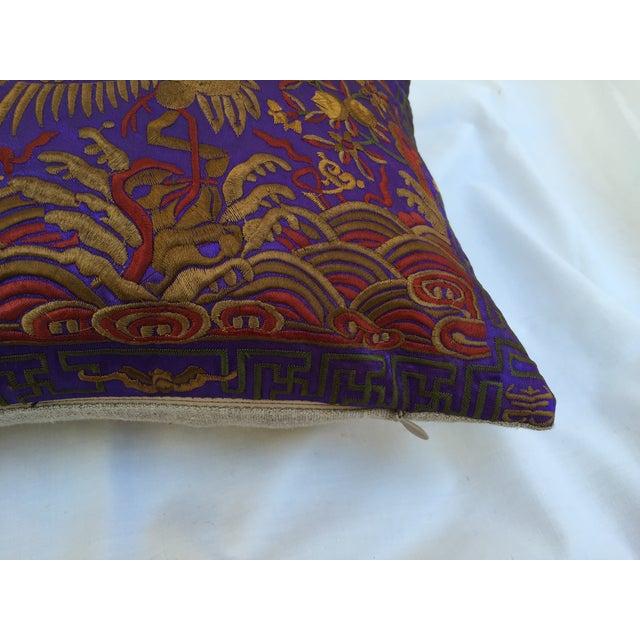 Vintage Lilac Silk Crane Boudoir Pillow For Sale - Image 4 of 7