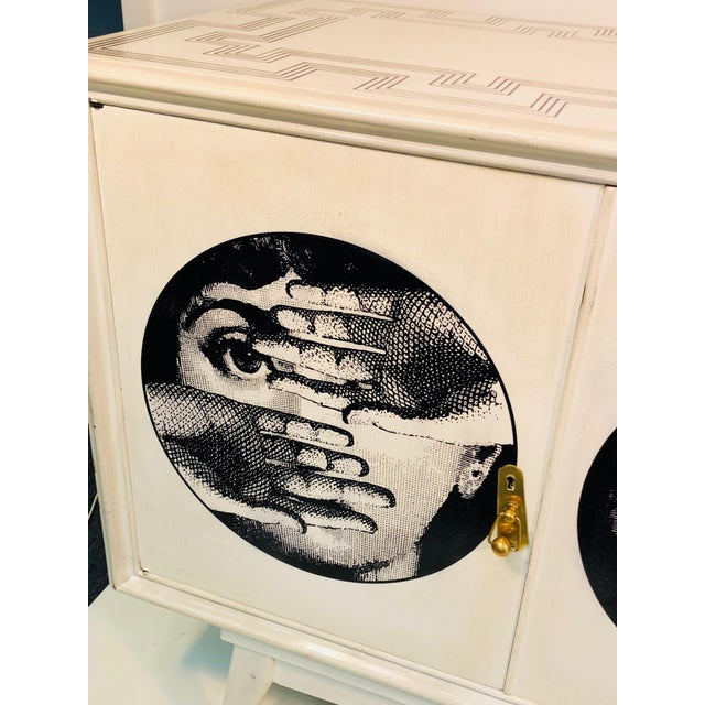 Late 20th Century 20th C. Italian Commode Cabinet in the Manner of Piero Fornasetti For Sale - Image 5 of 11